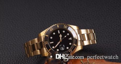 Top Watch Gold Mens Automatic Ceramic Mens Guarda orologi Gettiglia Qualità Movimento Auto-vento nero sport orologio da polso Misneo