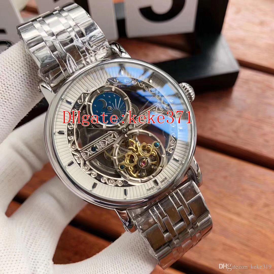 6 renkler Moda Yüksek kaliteli Kol Saatleri 44mm Tourbillon Paslanmaz Çelik Asya 2813 Hareketi Şeffaf Otomatik Mens Watch Saatler