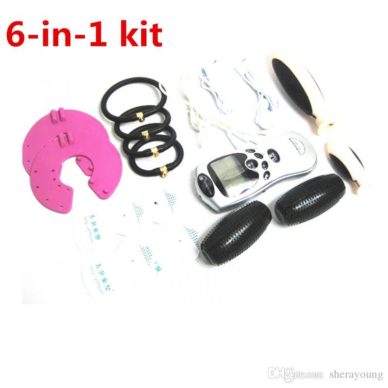 6 -에서 - 1 음순 고문 Estim 자극 섹스 장난감 커플 새디즘, 마조히즘 등 구속 기어 키트 전기 충격 질 애널 플러그 수탉 반지 유방을 재생하기위한