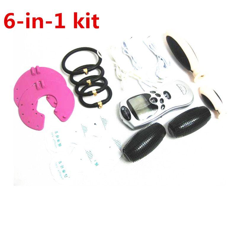 6-in-1 BDSM Bondage Kit engrenage Electro Shock Vaginal Anal Plug Cock Rings sein Labia torture Estim stimulation Sextoys pour Couples Jouer