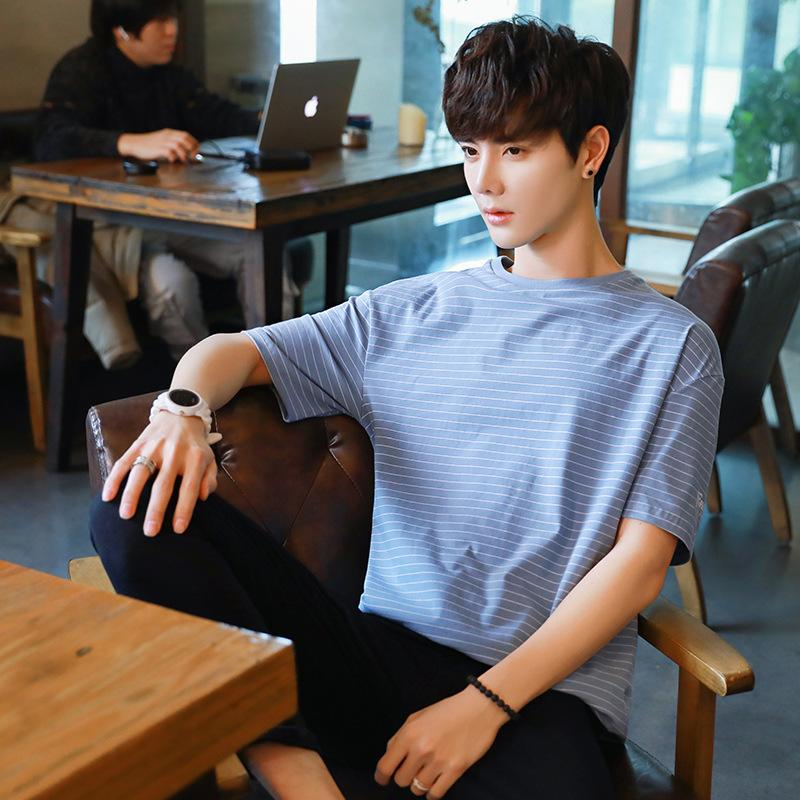 Pop2019 Pattern Men's Fivepence T Pity Easy Korean Trend Handsome In Sleeve Pure Cotton Stripe Show Solicitude For Unlined Upper Garment