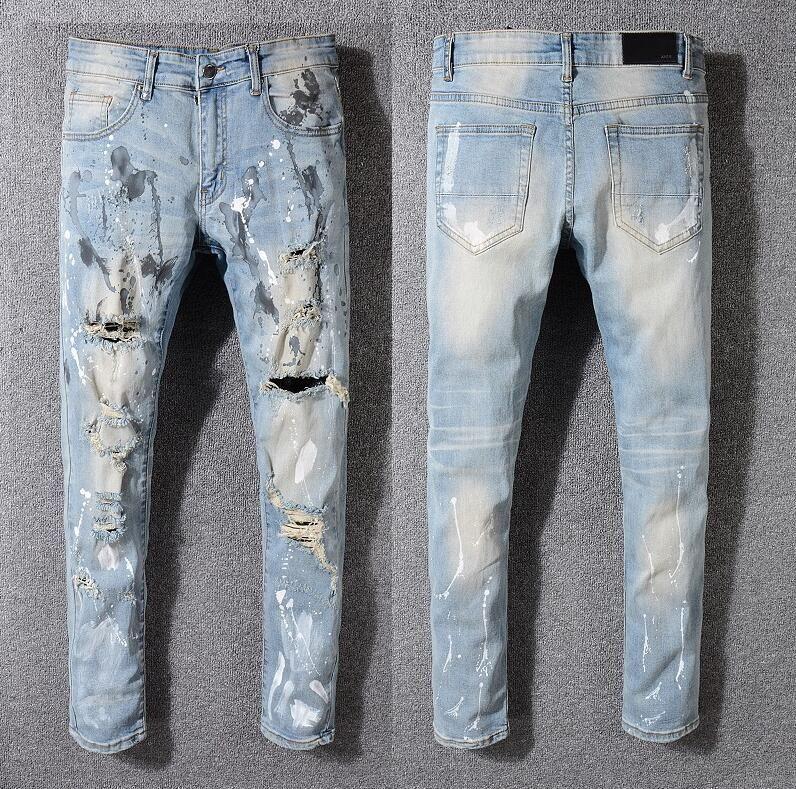 Compre Los Mejores Pantalones Vaqueros De La Marca Disenador De Moda Pantalones Amiri Jeans Para Hombre Pantalones De Agujero Parche Casual Pies Pantalones Pantalones Venta Caliente Pantalones Delgados Nuevos 1 1 A