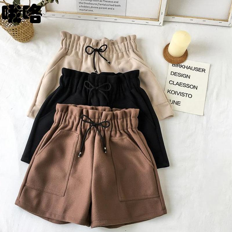 2020 Plus Size High Waist Wide Leg Black Shorts Women Autumn Winter Solid Short Casual Thicken Warm Ladies Woolen Shorts Elastic
