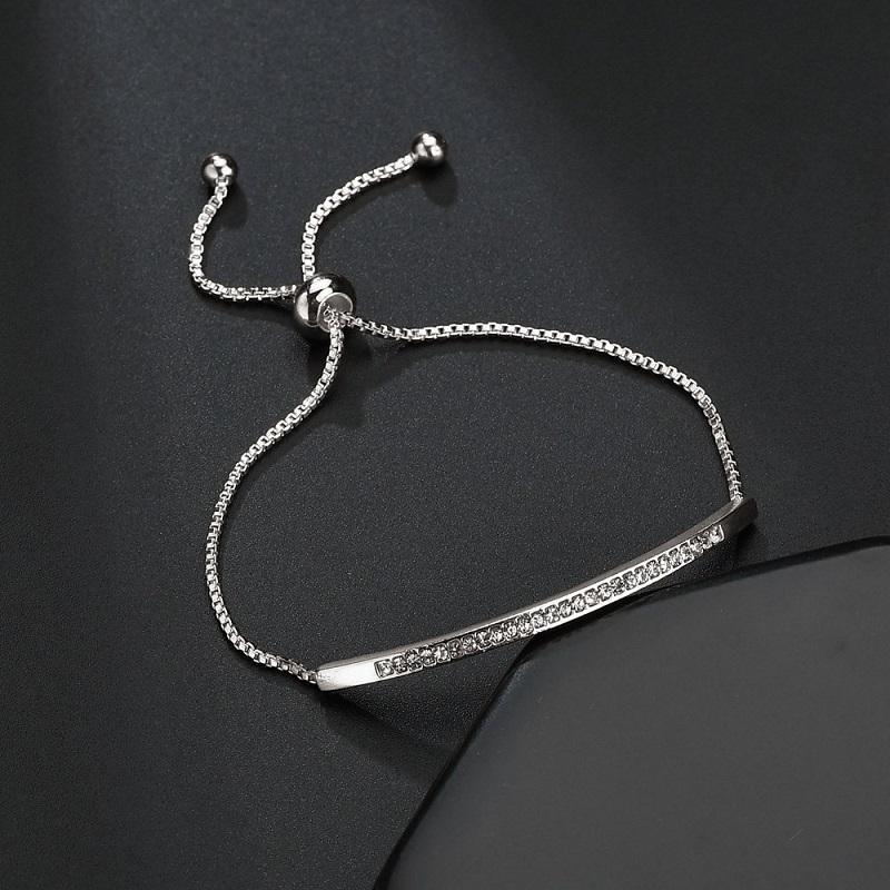 Cubique Zircon réglable Bracelet Bar Femmes CZ brillant Curseur Captivate Couleur de la chaîne en or rose Bijoux Pulseira Feminia cadeau