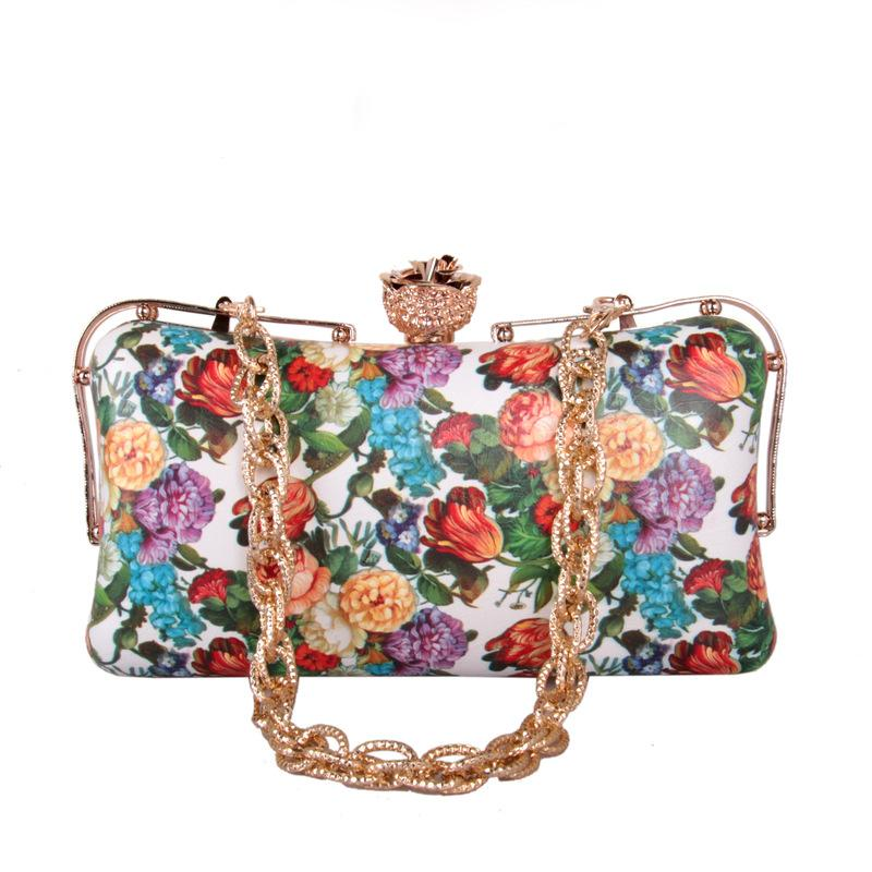 Handbag Rose Bridal One Evening Ladies Simple Bag Print Lady Clutch Purse Wallet Women Pattern Floral Leather Party For Shoulder Lstjd Gwep