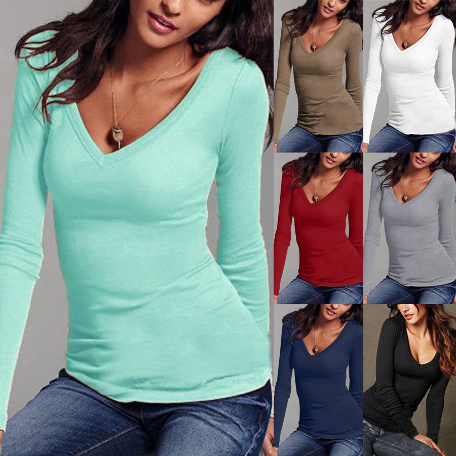 Las mujeres del otoño de algodón T Shirt Top manga larga negro blanco camiseta ocasional Femme mujer Slim Sexy Tops tallas grandes ropa de moda
