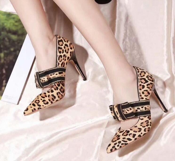 [Original Box] New Arrival Womens High Heel 9CM Pumps Horsehair Pointed Toe Wedding Dress Leopard Print Shoes Size 35-41