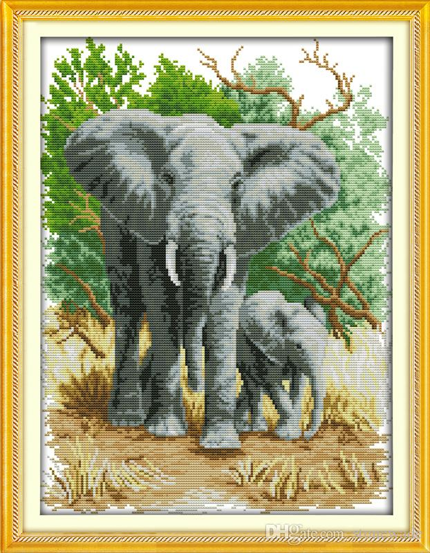 The elephant mother and son home decor painting ,Handmade Cross Stitch Embroidery Needlework sets counted print on canvas DMC 14CT /11CT