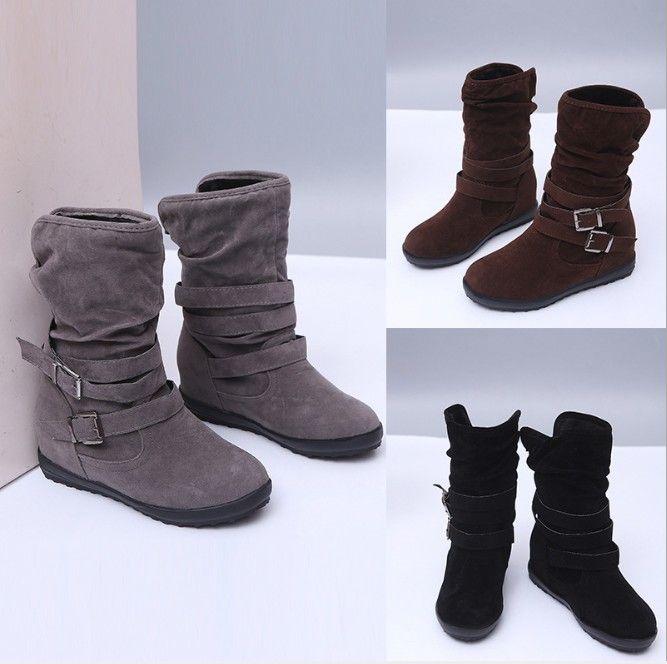 Tamaño 35-43 del invierno sobre Botas Zapatos de mujer tela de estiramiento de las mujeres de alta del muslo atractivos atan para arriba Mujer larga y plana Bota Feminina