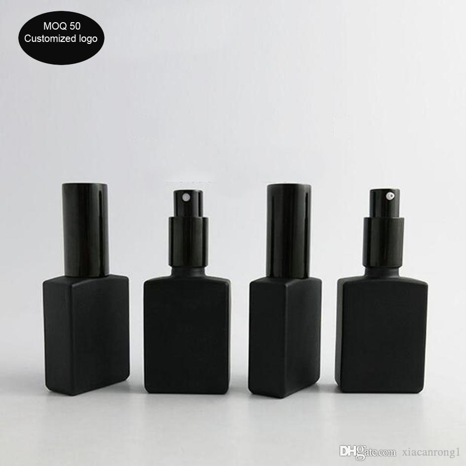 50PCS / الكثير 30ML مربع مسطحة زجاجة رذاذ عطر بلوري أسود زجاجة من الضروري النفط زجاجة محلول مع فوهة سوداء