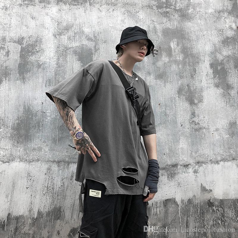 Mens конструктора Tshirt Улица Hiphop Стиль Tear женщин с коротким рукавом Топы Летние мужские футболки Дыры