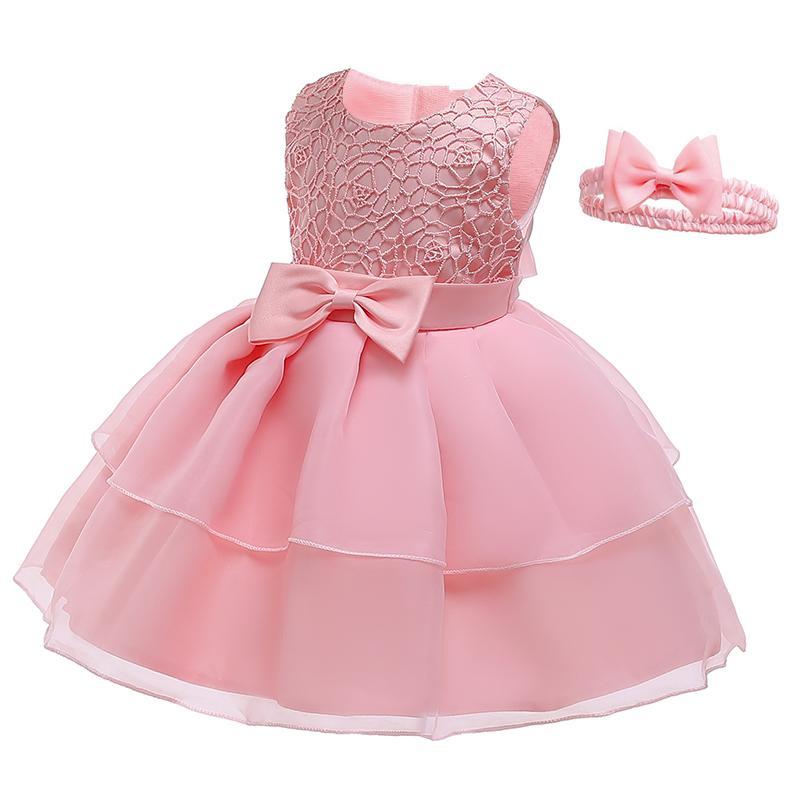 Bebek Kız Beyaz Prenses Giydirme Vaftiz Bebek Giyim 0-2 Yaşında Kız Saf Renk Dantel şifon Tutu Elbise Yaz Giyim