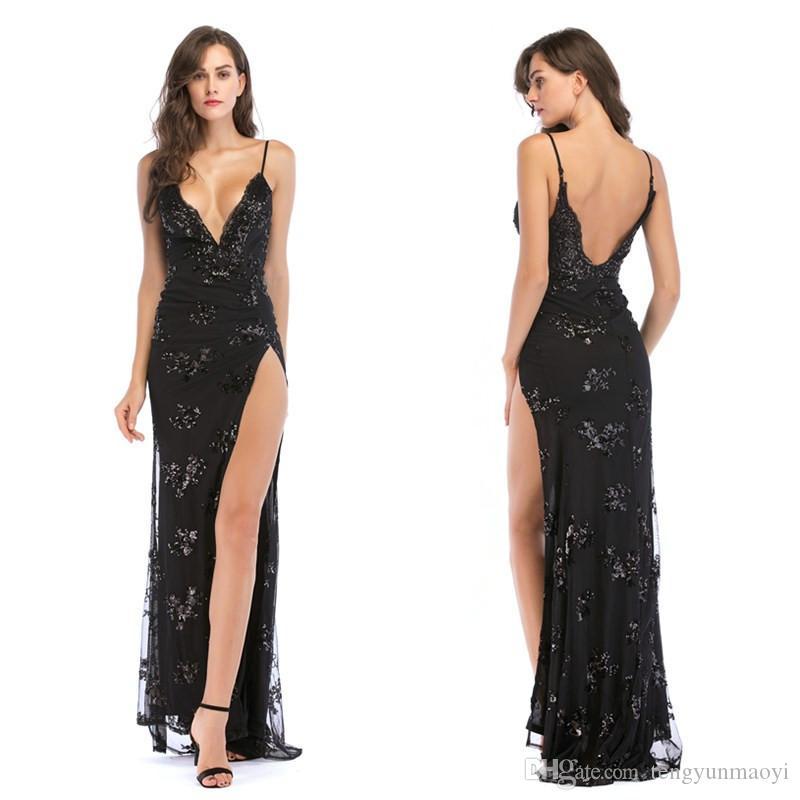 Mode-Trend europäischen und amerikanischen Stil Design unregelmäßige Träger sexy rückenfreies schwarzes Kleid Sommer Damen Kleid Großhandel