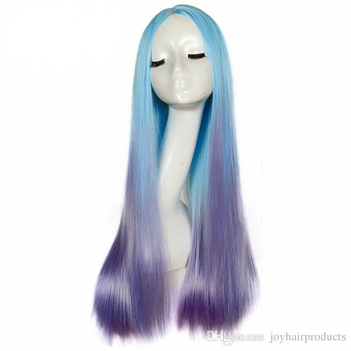 New Kind Meimaid Wig 24 inch Long Straight Wig Blue Ombre Purple Color Synthetic Wig for Women Party Hair Style