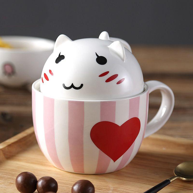 Lovely Cartoon 3D Cat Couple Mug 350ml Cute Ceramic Milk Coffee Cup Novelty Tumbler Mug Xmas Gift For Children