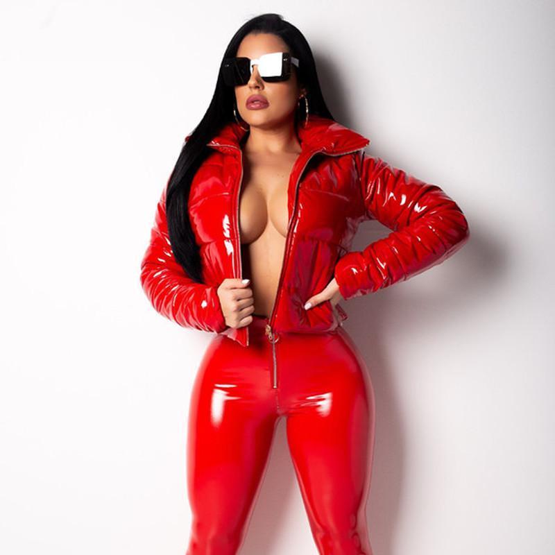 Mode hiver brevet Manteau Bubble en cuir femmes Fermeture à glissière imperméable rembourré de coton-veste rouge Puffer Femme Parkas Plus Size