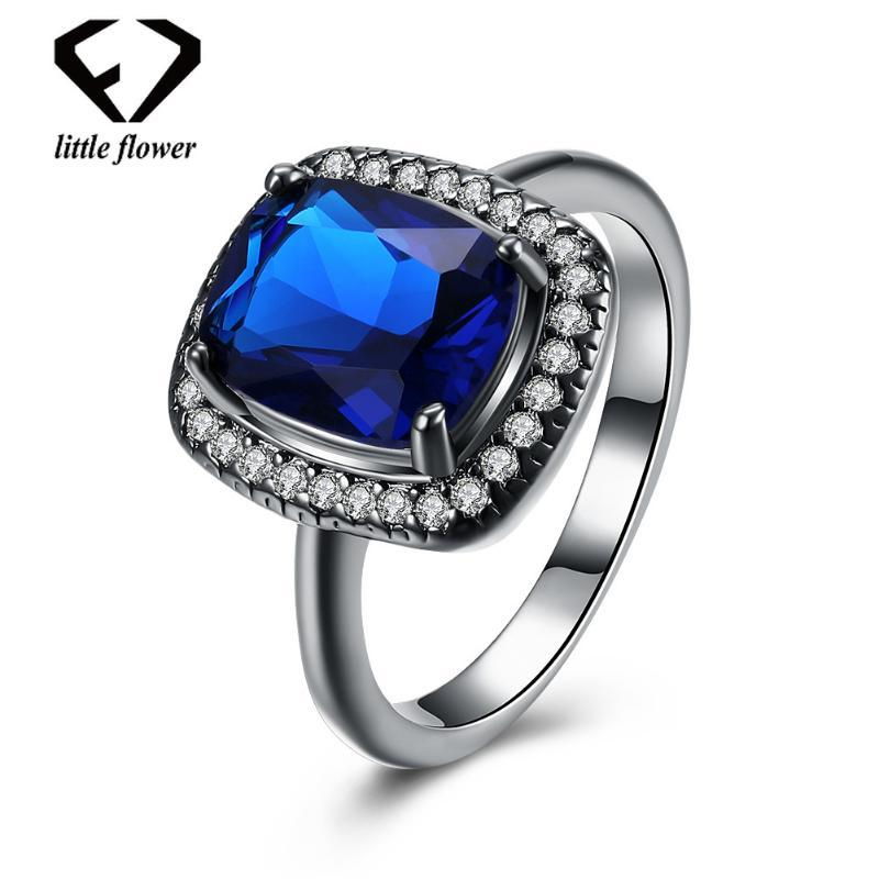 Fine Jewelry 925 Sterling Silver Classic Square Large Blue Zircon Diamond Close Rings for Women Gorgeous trendy Geometric style