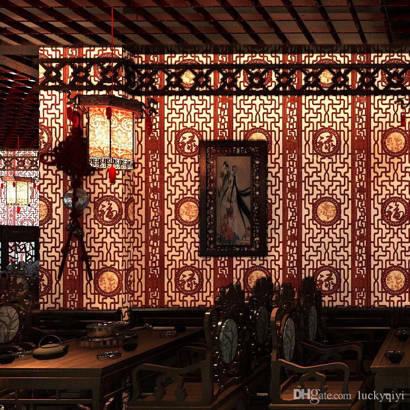Китайские классические обои имитация резьба по дереву оконные стекла обои гостиная кабинет прихожая ТВ фон настенное покрытие