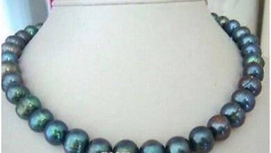 الشحن مجانا الشحن 11-12mm الطاووس لؤلؤة تاهيتي الأخضر قلادة 18INCH