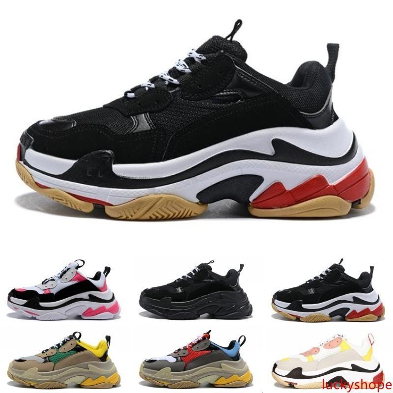 Designer de Moda Paris 17FW Triple-S 2019 Shoes pai Triple S Sneaker Desi Luxo para mulheres Bege Preto Sports Homens Running Shoes 36-45
