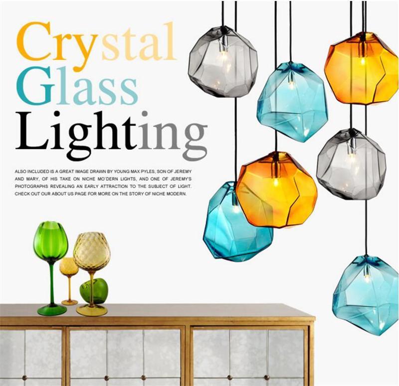 Moderno color cristal araña de cristal personalidad restaurante bar luz sala de estar decoración creativa en forma de piedra led lámpara colgante-L38