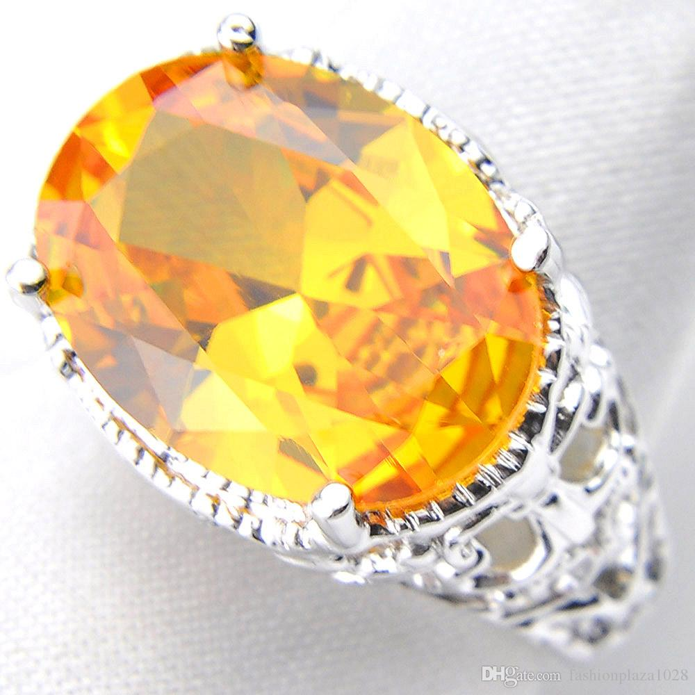 LUCKYSHINE Family Gift Gorgeous Oval Fire Citrine Solitaire 925 Sterling Silver Rings Russia American Australia Wedding Rings For Women