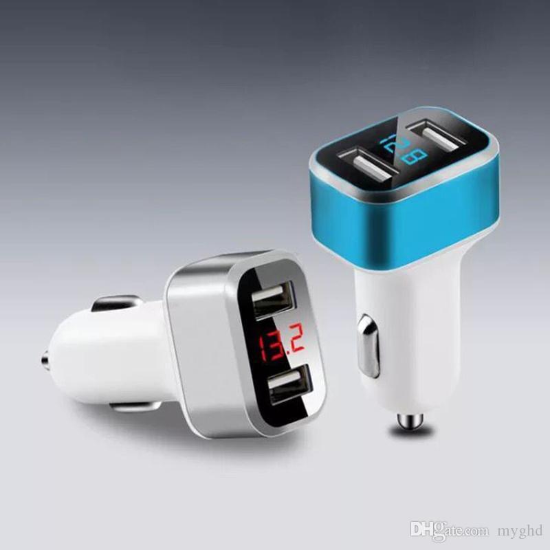 Универсальный Dual USB Автомобильные зарядные устройства Адаптер 3.1A Цифровой индикатор напряжения / тока Дисплей Авто Автомобиль Металл Автомобильное зарядное устройство для смарт-телефона Tablet