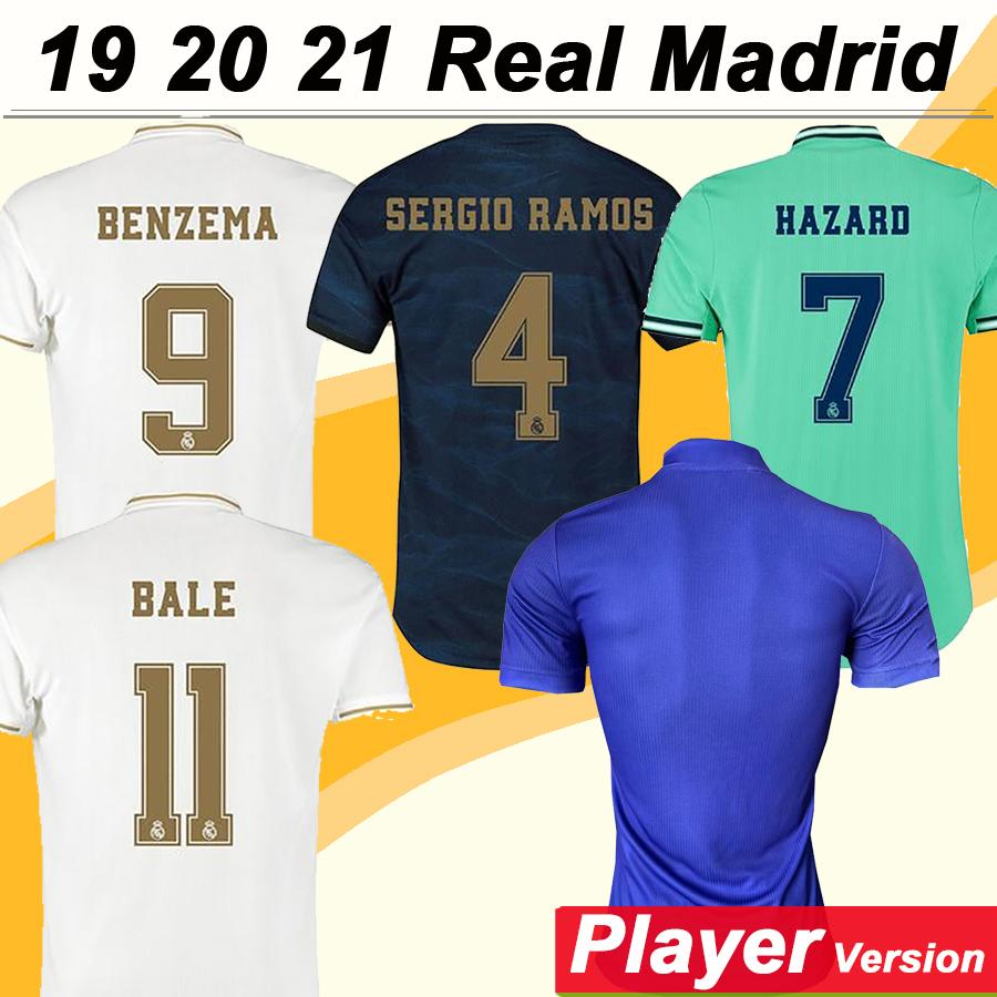 19 20 21 HAZARD BENZEMA KROOS Player Version Home Mens Soccer Jerseys ISCO BALE MARCELO MARIANO Football Shirts SERGIO RAMOS MODRIC Uniforms