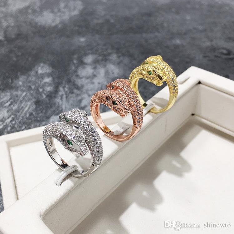 Venta de la manera Señora de latón llena de diamantes de los ojos verdes Doble leopardo pantera compromiso de la boda 18K plateó los anillos abiertos de 3 colores Un tamaño