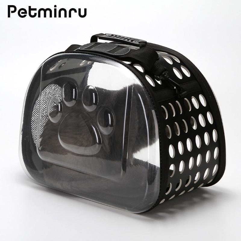 Petminru Trasparente Cat Carrier Bag Traspirante Pet Travel bag Pieghevole Borse a tracolla all'aperto Cucciolo Viaggi Borse da trasporto Y19061901