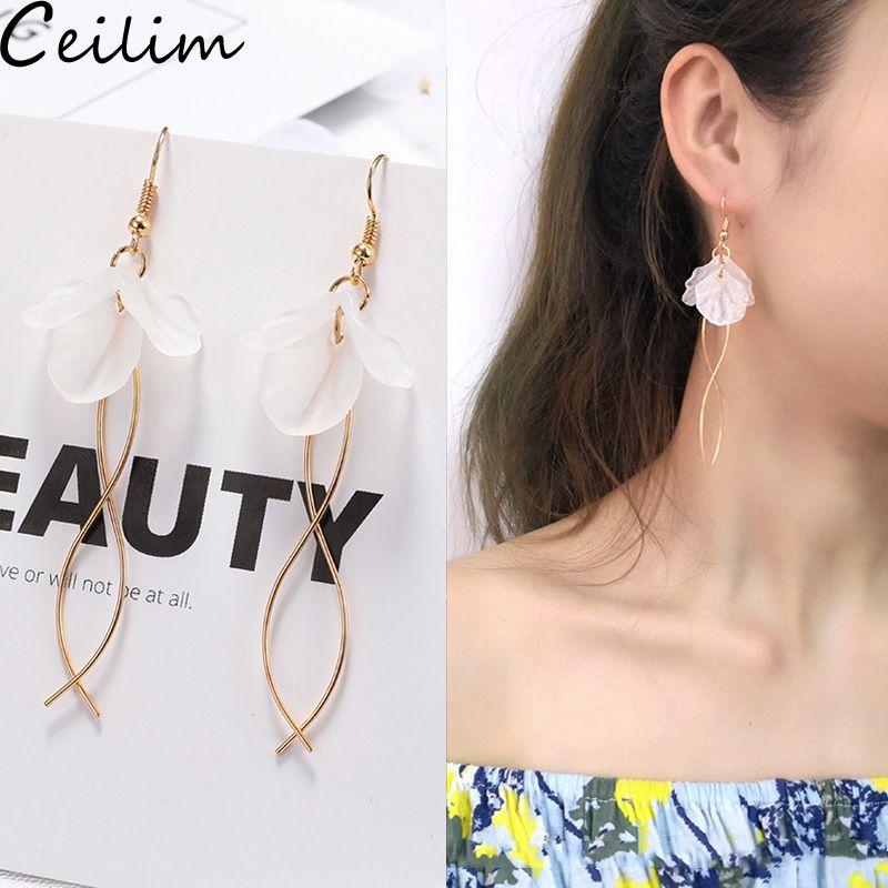 Women/'s Gold Plated Zircon Black White Disc Resin Drop Earrings