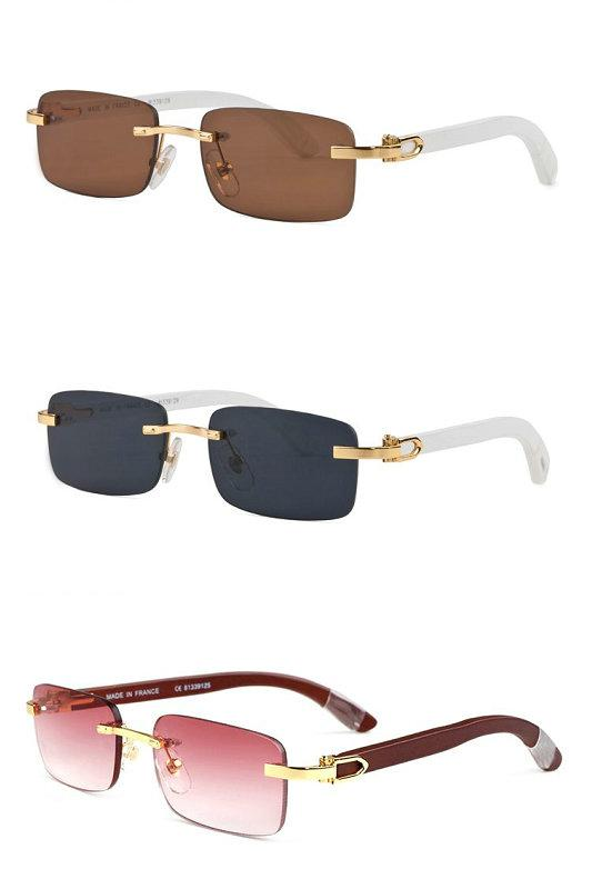 Luxe-nouveau style mens marque sports de plein air en bois lunettes de soleil marques designer de mode classique sans monture lunettes en corne de buffle 2017 avec boîte