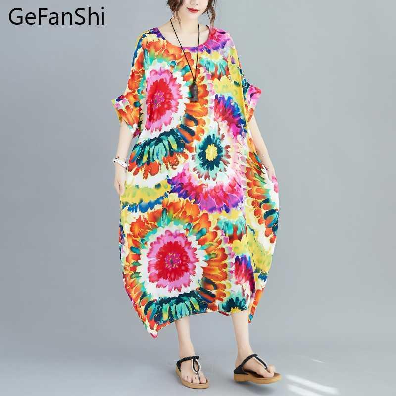 Лето Женское платье Плюс Размер Vintage Art Цветочные O-образным вырезом с коротким рукавом Повседневная Сыпучие Женская мода Robe Длинные платья