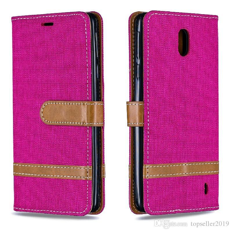 Pour NOKIA1 PLUS 2019 stand design Porte-monnaie style Jeans de couleur Sac en cuir de cas Couverture de téléphone avec le téléphone et le cas détenteur de la carte B058