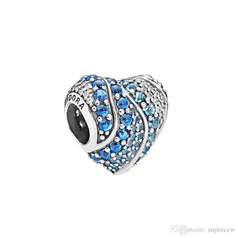 925 authentiques réel Charms Sterling SilverL Blue Water Coeur Fit Pandora Bracelet