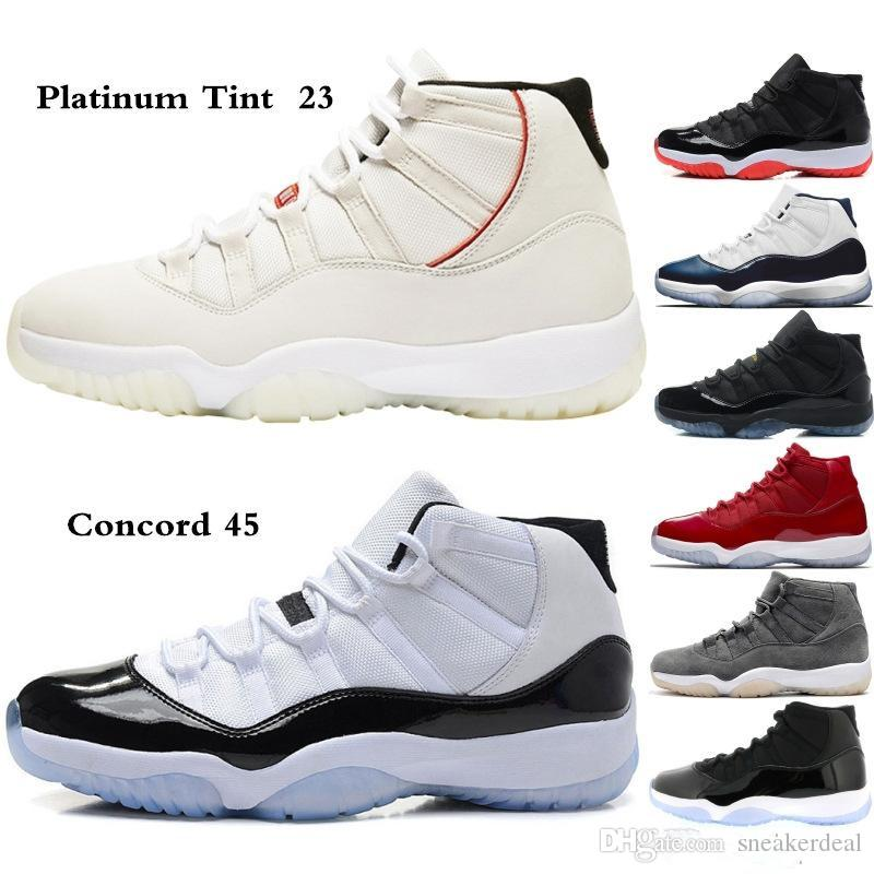11s Platinum Tint Concord 45 scarpe da basket 11 Cap Gown Blackout Stingray Palestra Red Midnight Navy Bred PRM Heiress Baroni con la scatola