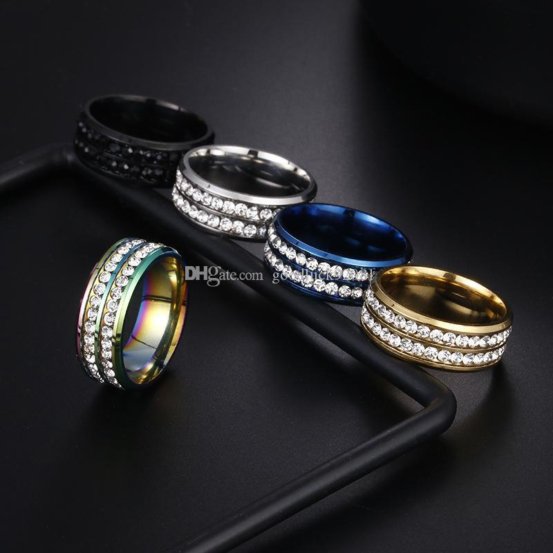Crystal Womens Men Fashion Stainless Steel Double Rows Ring Wedding Band Ring