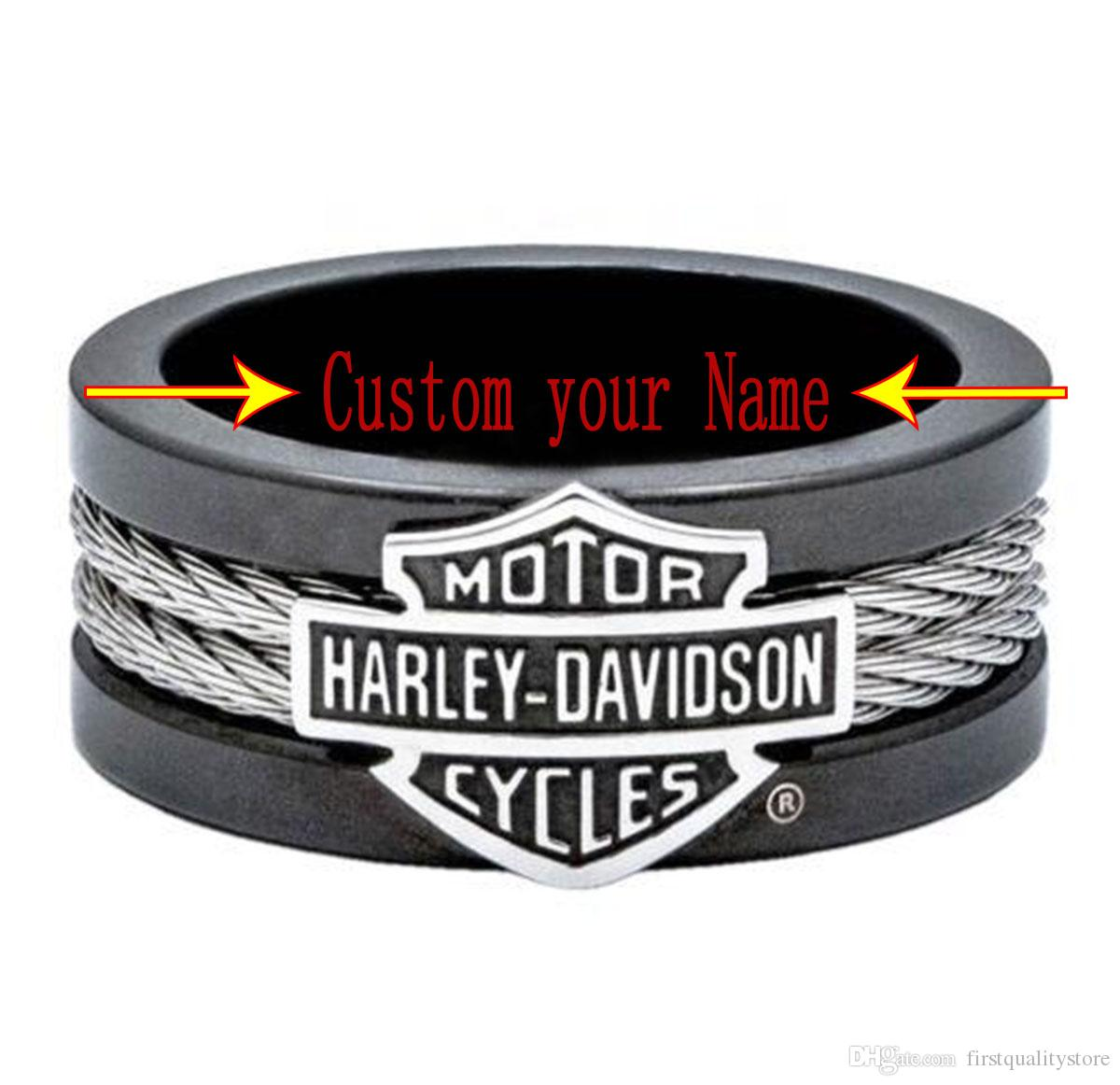 Motorcycle ring trend of personality Men's Black Biker Ring