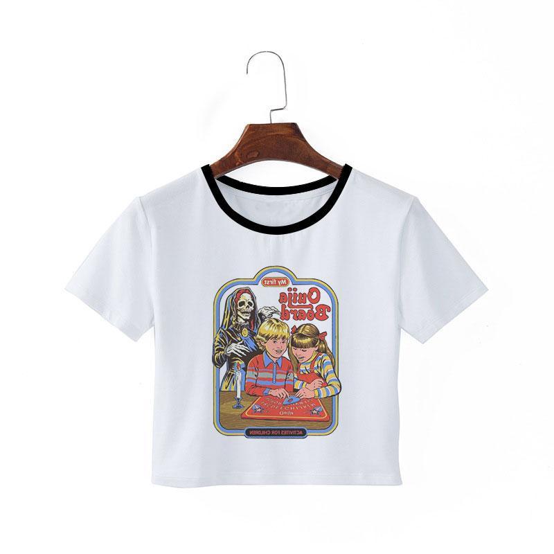 Оптово Рубашка Sexy Эстетические Одежда Graphic футболки белая рубашка Crop Top Tumblr Summer T Femme