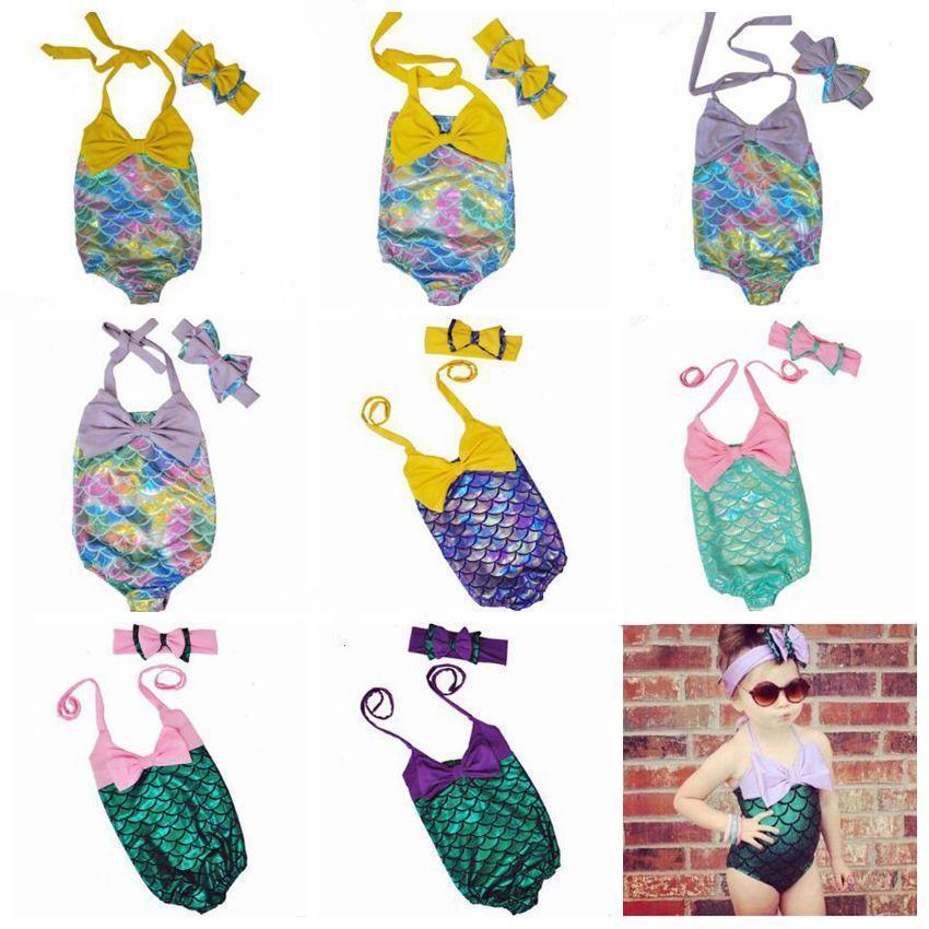 Mermaid kız Mayo Çocuk Denizkızı Kuyruk Bikini Bebek Balık Ölçek Mayo Bow Şapkalar Karikatür Kafa Yıkanma Çocuk Giyim CZYQ3925 Takımları