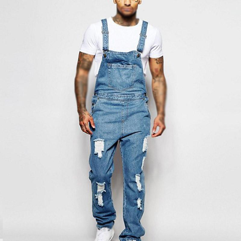 Kış Erkek Tulumlar Oversize Denim Pantolon Streetwear Uzun tulumları Gevşek Günlük Delikler Vintage Moda tulum Erkekler serin sonbahar