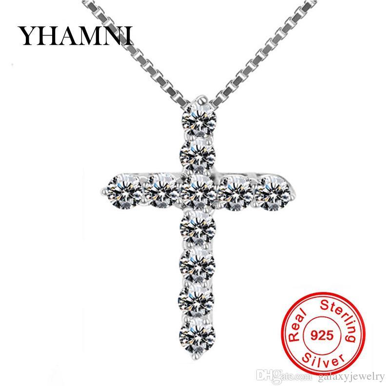 YHAMNI 100% 925 Cruz de Plata Esterlina Cristiano Jesús Joyería de Lujo Cubic Zircon Cruz Colgante Collar Para Las Mujeres Regalo DZ005