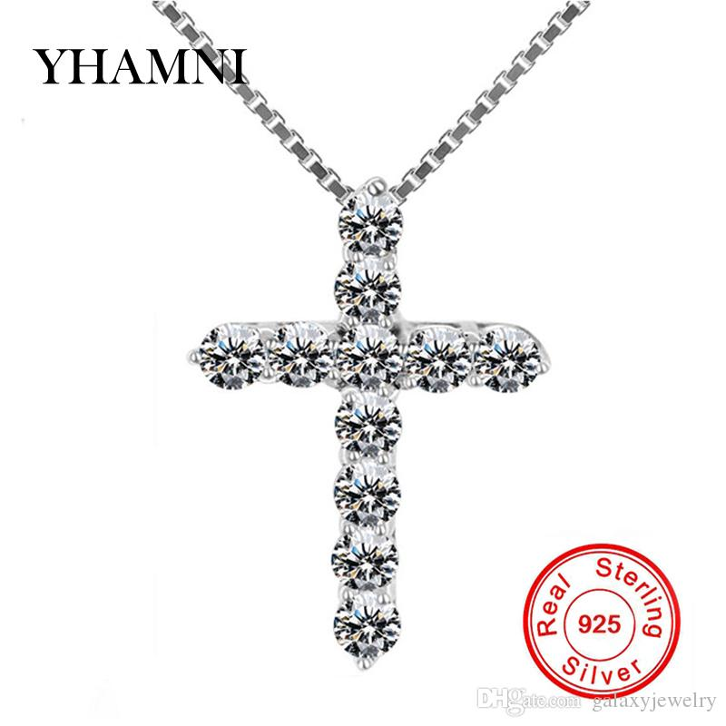 YHAMNI 100% 925 Sterling Silver Cross Christian Jesus Jewelry Luxury Cubic Zircon Cross Pendant Necklace For Women Gift DZ005
