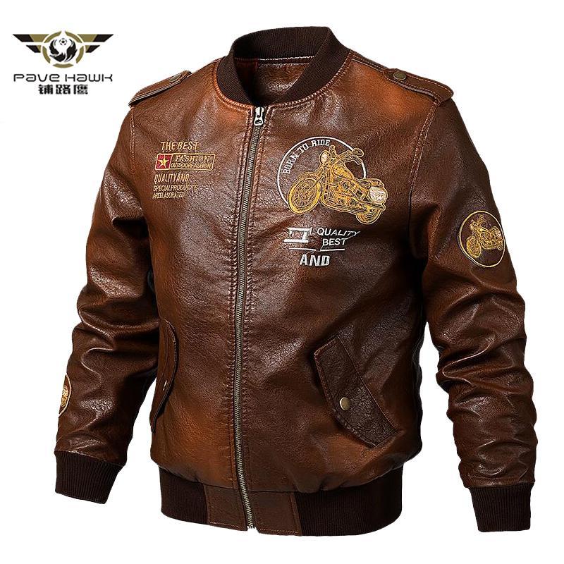 Herrenlederjacken und Mäntel Männer Motorrad-Lederjacke beiläufige dünne Marken-Kleidung mit V-Ausschnitt-Kragen Mäntel Y200109