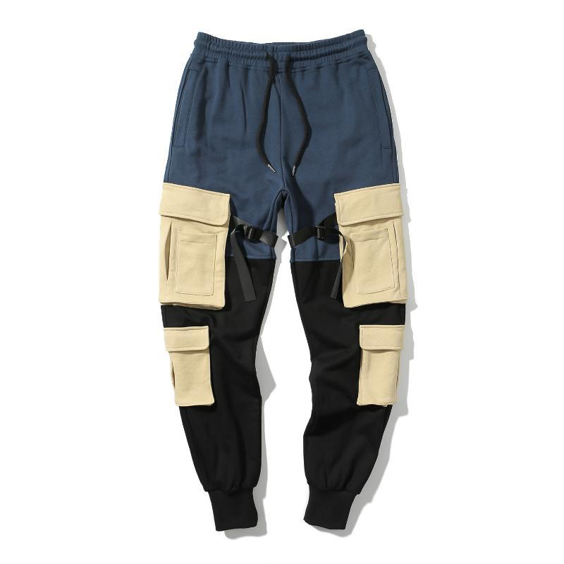 Erkek Pantolon Kalem Dışında Joggers Yüksek Kalite Erkek Cepler Kamuflaj Tulum Elastik Bel Pantolon Erkekler Sweatpants