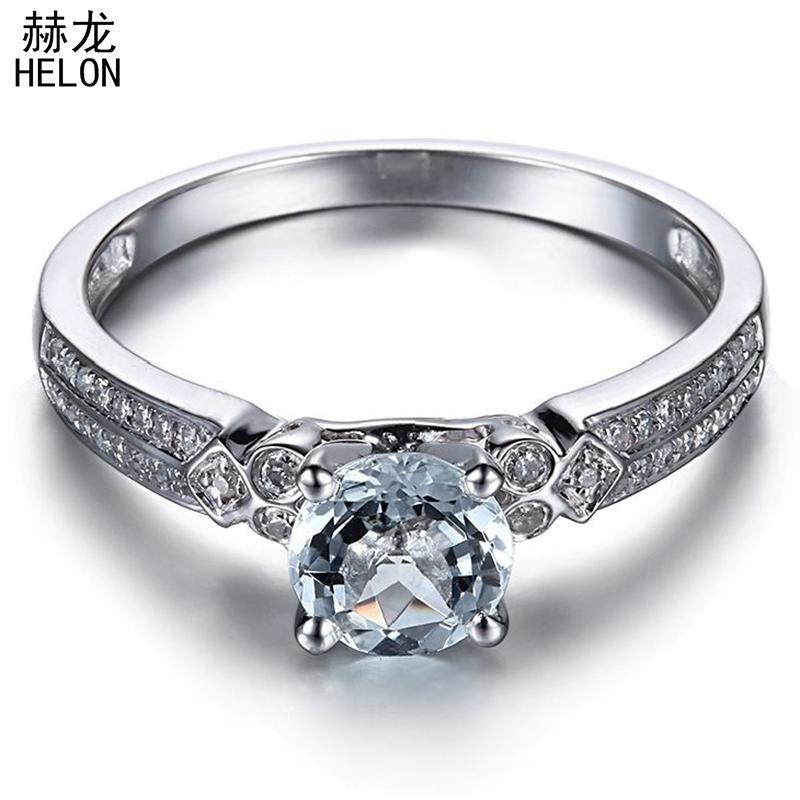HELON Solid 10K White Gold Flawless 6mm Round Genuine Natural Aquamarine & Diamond Engagement Wedding Women Fine Jewelry Ring S200117