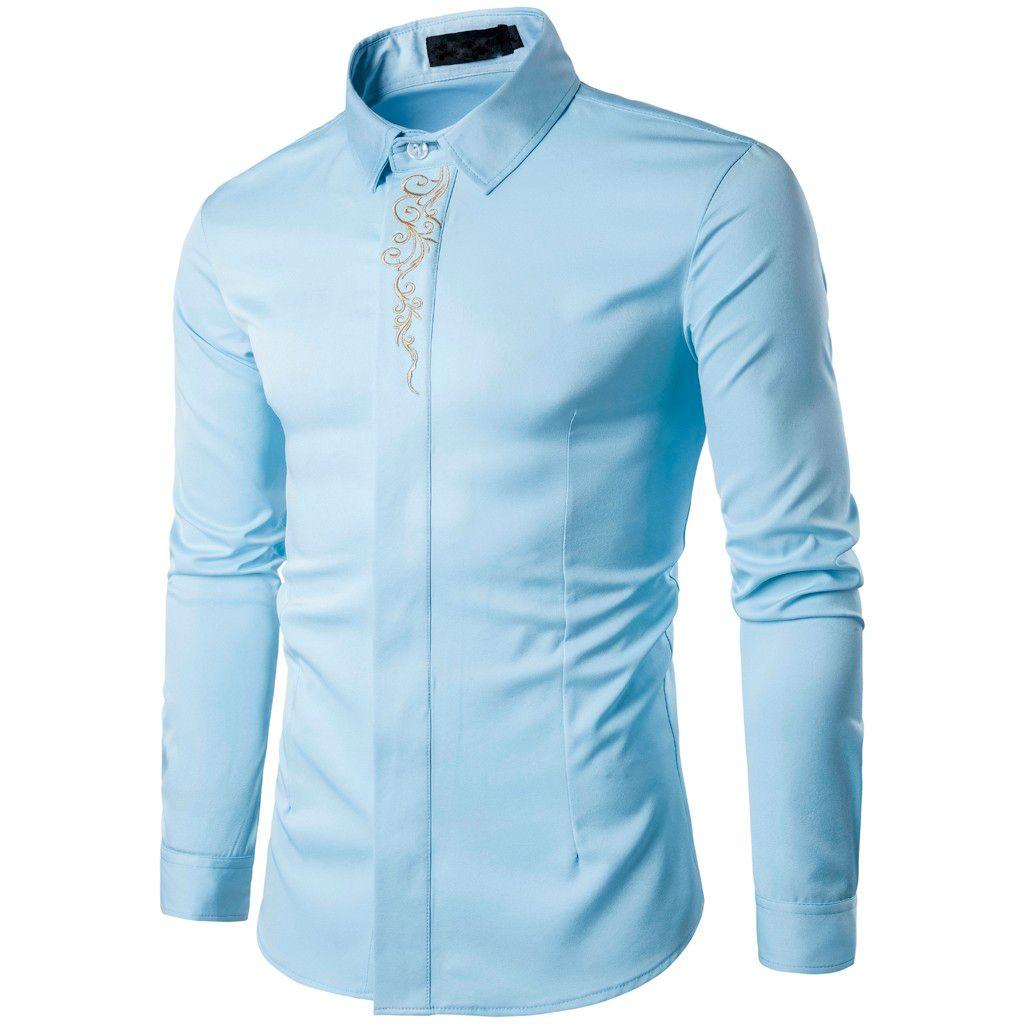 2019 Springautumn Männer dünnes Hemd-Revers-Print Langarm-Knopf oben drehen unten Kragen Geschäfts Bluse Camisa De Los Hombres # 15