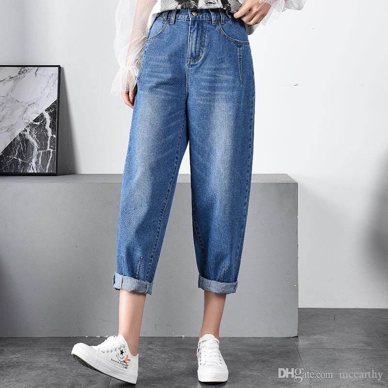 Neue mode denim jeans lässig capris weibliche haremhosen frauen plus size pumphose hosen frühling herbst baumwollmischung tyn0911