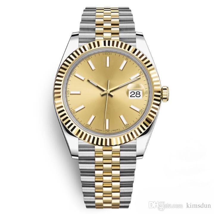 24 Mens Watch Spor Otomatik Mekanik Saatı İki Ton Altın Arama Tasarımcı Kol Saati 41mm Moda Elbise Casual Saatler Basit Reloj