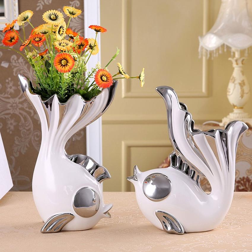 2Piece/set Creative Fish Shape Design Flower Vase Home Decorative Ceramic Vase Furnishing for Dining Living Room Craft Ornament